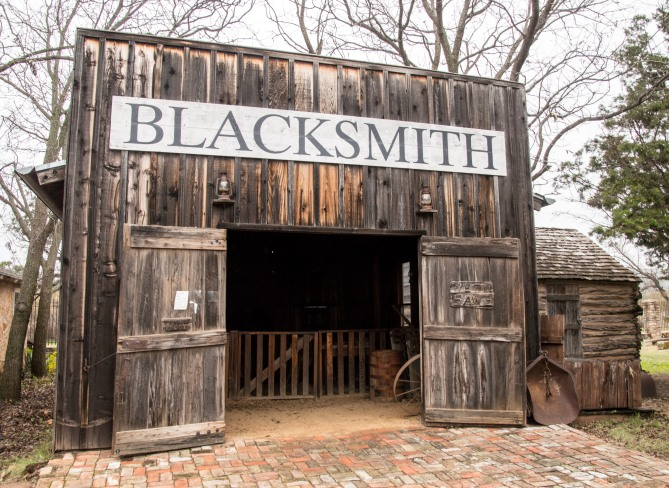the Blacksmith Shop and adjacent building full of artifacts and antiques