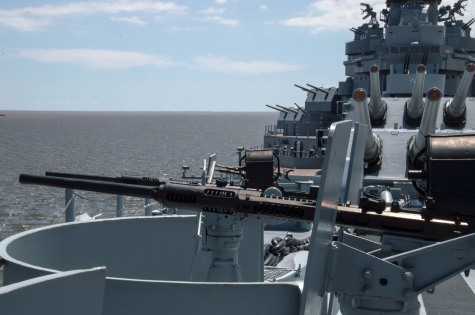 Guns now silent defended the ship in WWll