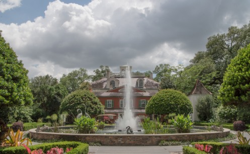 Fountain in the back of the mansion