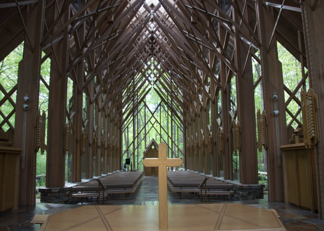 Anthony Chapel - constructed entirely of glass and wood beams
